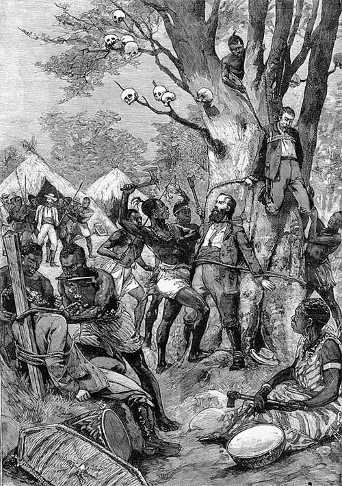 Европейских миссионеров часто убивали каннибалы из Конго. Французская гравюра 1898 г