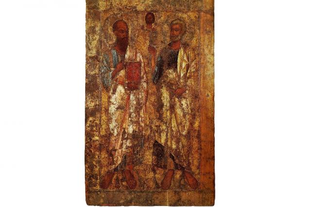 Апостолы Петр и Павел, одна из древнейших русских икон, вторая половина XI века.