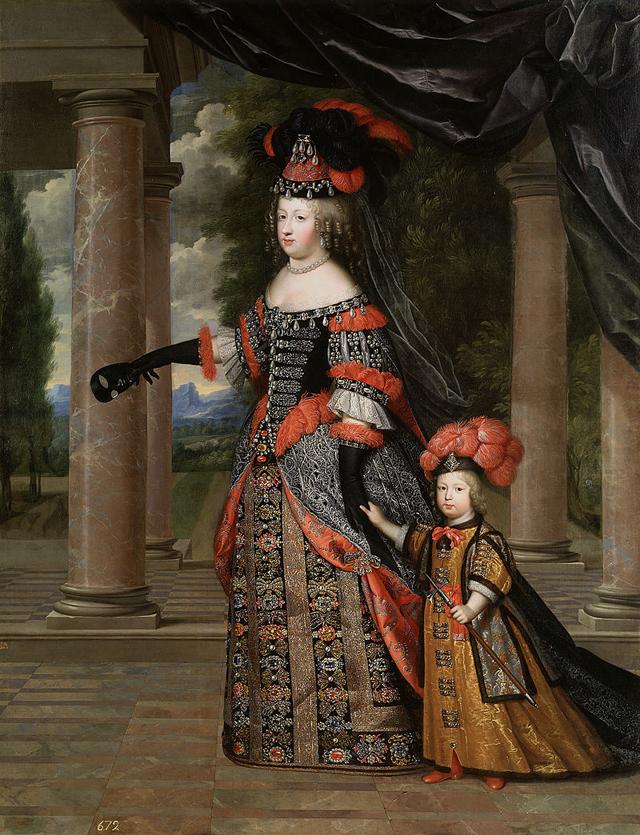 Мария Терезия, жена Людовика XIV, с их единственным выжившим сыном, Луи ле Гранд Дофин.