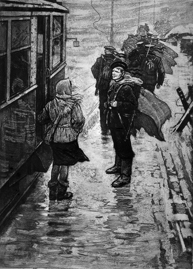 Сюжет работы художник подсмотрел на ленинградской улице.