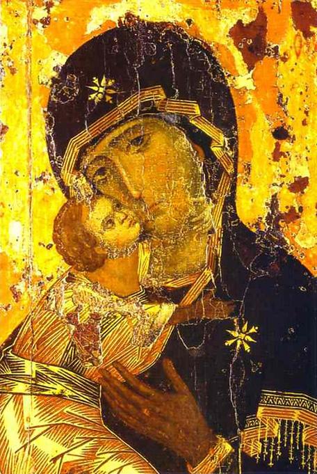 «Владимирская икона Божией Матери» — наиболее почитаемое изображение Богоматери на Руси. Византия. XII век.