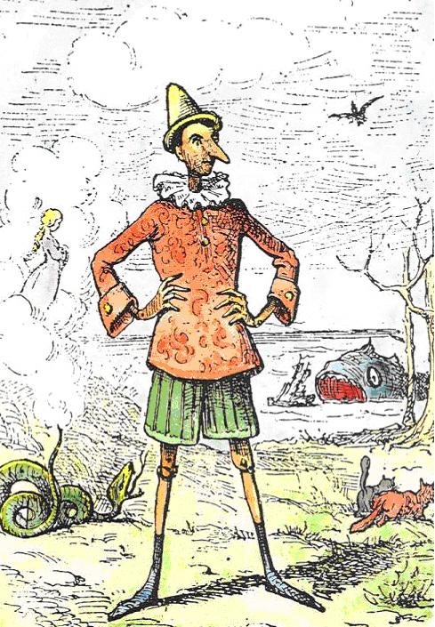 Пиноккио. Первая иллюстрация 1883 года.