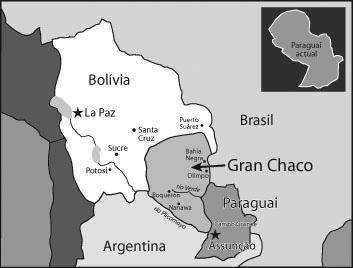 Боливия и Парагвай перед началом войны; светло-серым цветом выделена спорная территория