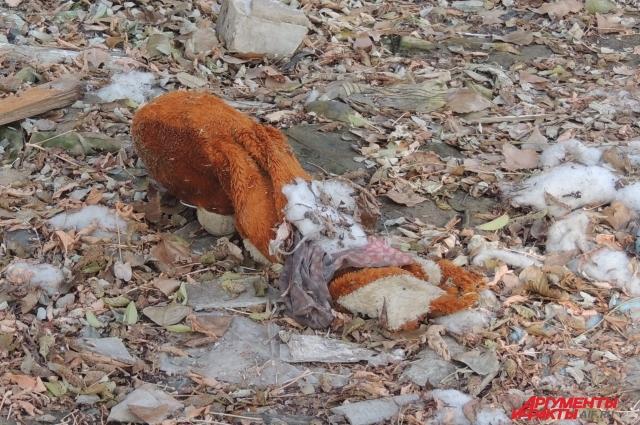 Сгоревшие детские игрушки так и остались лежать возле дома.