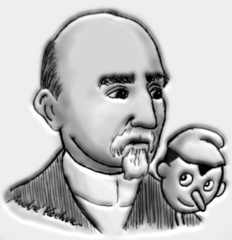 Карло Коллоди и Пиноккио. Рисунок  Андре Кёне