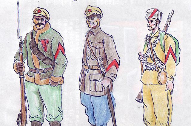 Форма одежды бойцов и командиров Таманской армии, РККА времён Гражданской войны, 1919 год