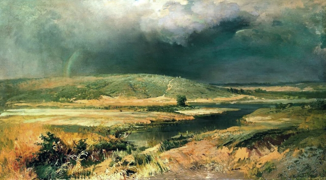 Картина «Волжские лагуны» привлекла большой интерес на посмертной выставке картин Фёдора Васильева.