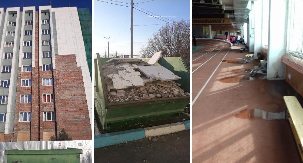 облицовка не завершена, строительный мусор копится, на полу в здании лужи.