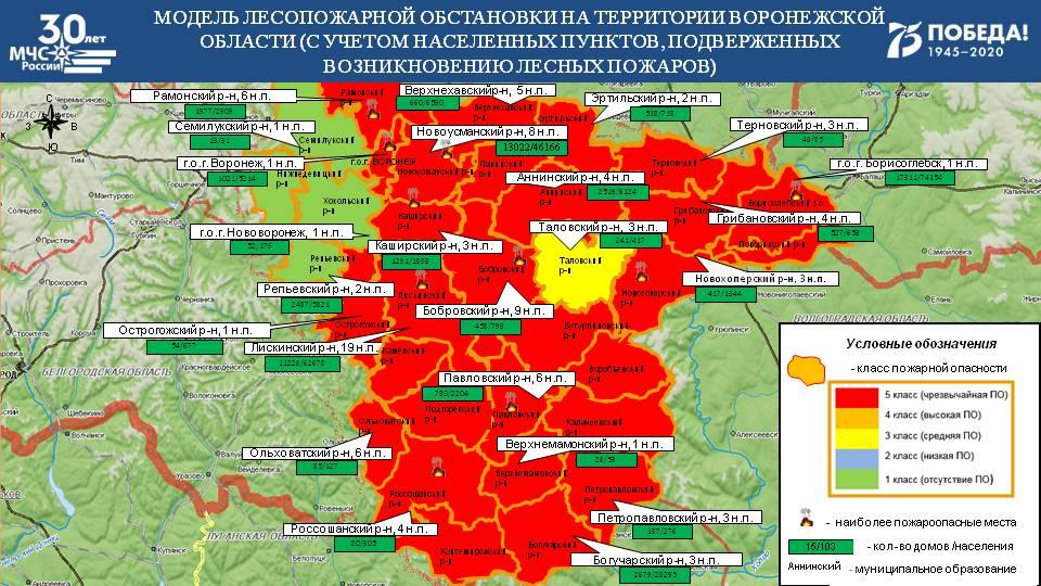 Карта пожароопасности Воронежской области