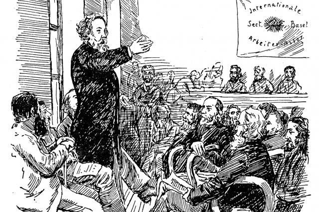 Михаил Бакунин выступает перед членами I Интернационала в Базеле, 1869 г