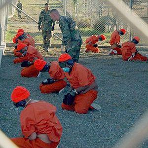 Прибытие задержанных в лагерь, январь 2002 года