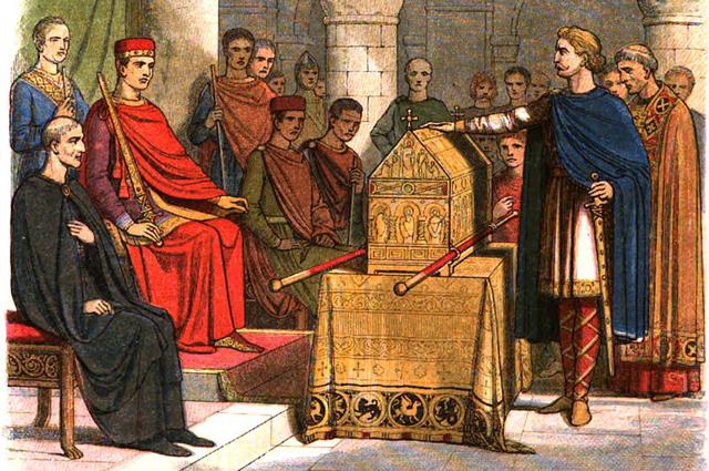 Джеймс Уильям Эдмунд Дойл. Гарольд II Годвинсон клянётся в верности Вильгельму Завоевателю.