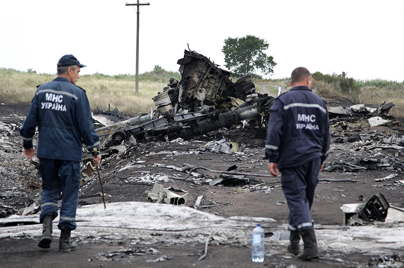 Место крушения разбившегося на Донбассе Боинга 777