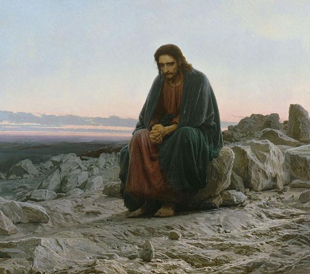 Над сюжетом из Нового Завета, где Христос после крещения удалился на 40 дней в пустыню, художник работал несколько лет.