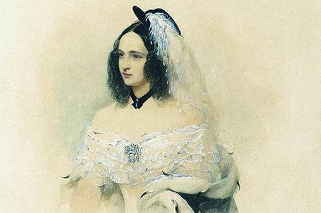 Наталья Пушкина. Акварель работы Гау. 1843 г.