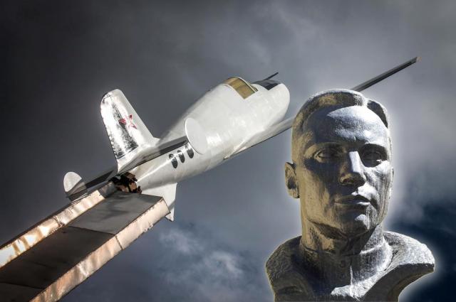 Лётчик Григорий Бахчиванджи и его самолёт.