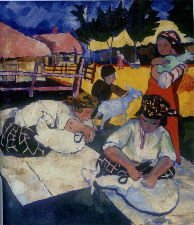 Наталья Гончарова. Стрижка овец, 1907