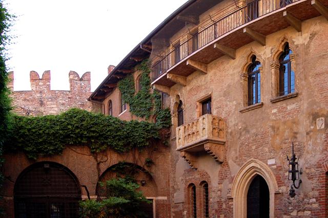 Панорама дома Джульетты (в центре находится легендарный балкон)