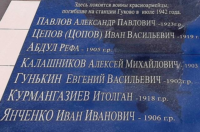 Имена красноармейцев, погибших во время бомбежки железнодорожной станции Гуково 15 июля 1942 года