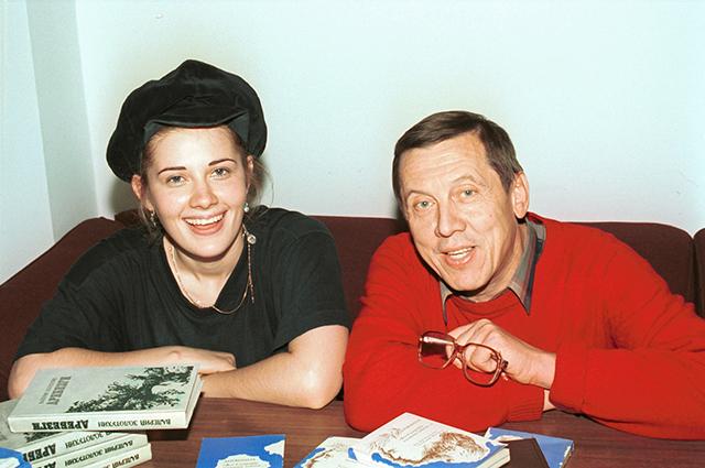 Валерий Золотухин и актриса Ирина Линдт. 1997 г.