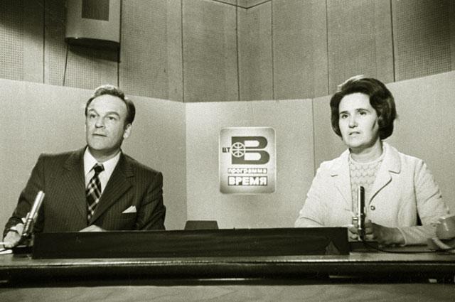 Дикторы Центрального телевидения Игорь Кириллов и Нонна Бодрова. 1977 год