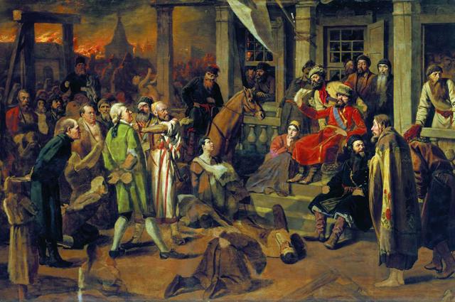 Василий Перов, «Суд Пугачёва» (вариант), 1875.Государственный исторический музей (Москва)