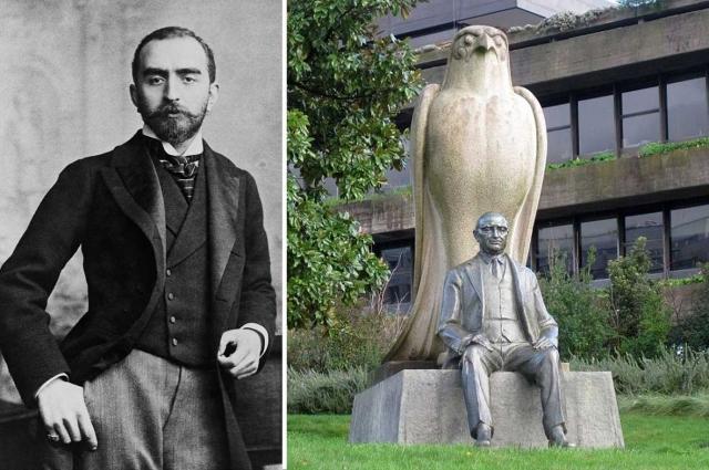 Галууст Саркис Гюльбенкян в молодости и памятник ему рядом с его музеем.