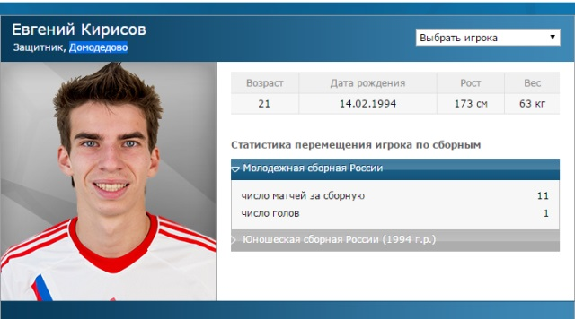 Профайл молодого футболиста на сайте РФС.
