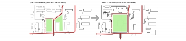 Архитекторы предлагают объединить пространоство плоащди, убрав центральный проезд на её края.