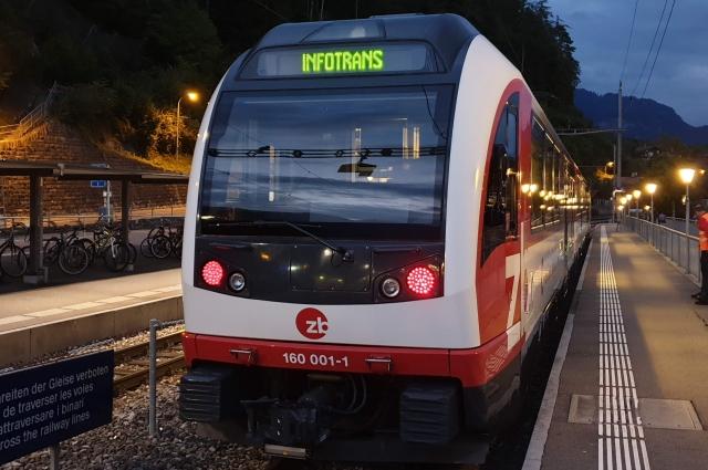 Пассажирский поезд FINK (Zentralbahn AG, Швейцария) с автоном- ной системой контроля состояния пути (АТМ).