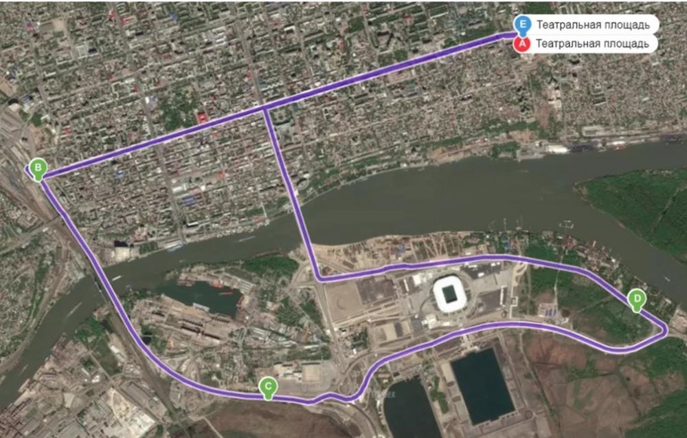 Маршрут велопарада в Ростове