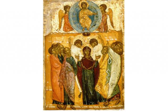 Вознесение Господне. Новгородская икона, XIV век.