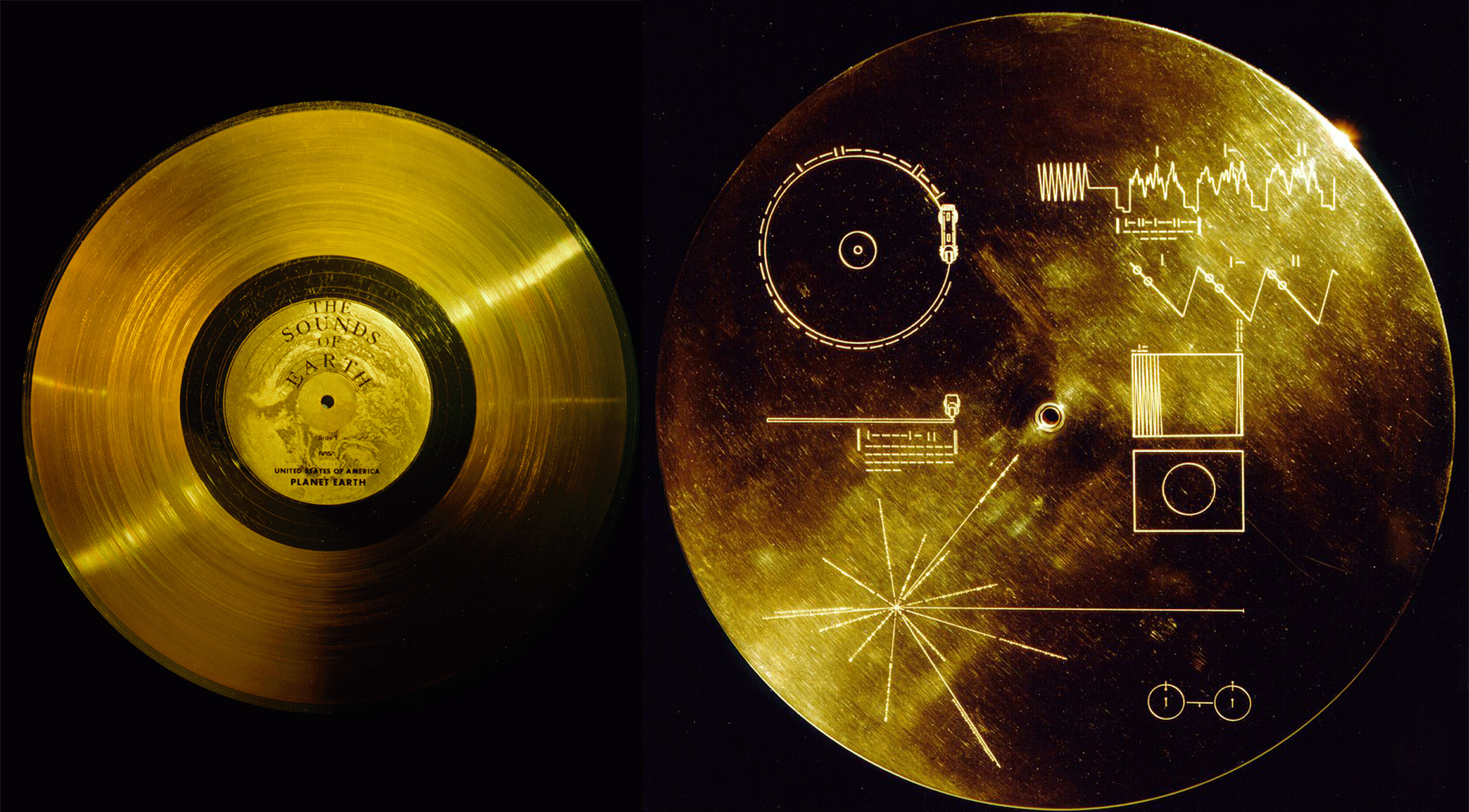 Золотой диск со звуками с Земли и крышка диска с Вояджера