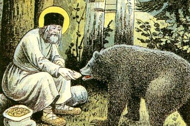 Серафим кормит медведя. Фрагмент литографии Путь в Саров, 1903 год