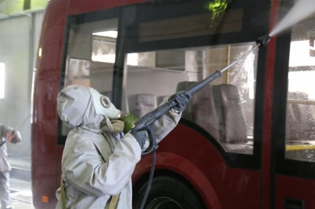 В день учений троллейбус № 5 вышел на маршрут не только чистым, но и обеззараженным.