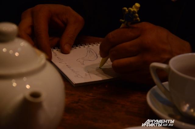 Руслан зарисовывает спасение грача.