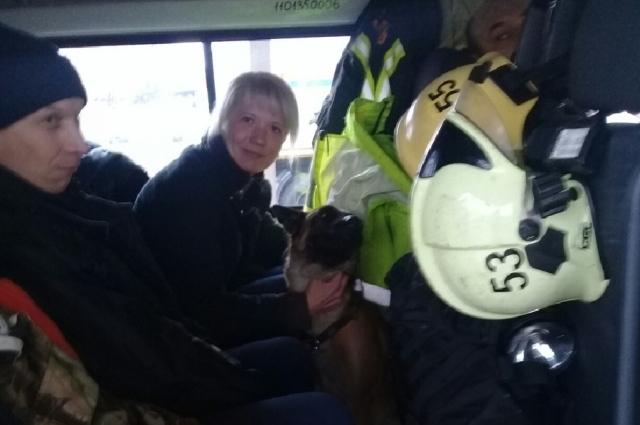 Волонтёр с собакой помогал спасателям в поисках.