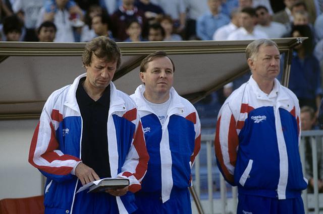 Тренеры сборной России по футболу Юрий Сёмин, Александр Тарханов и Борис Игнатьев. 1996 год
