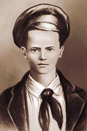 Портрет Павлика Морозова, созданный на основе единственной известной фотографии, на которой он был запечатлен
