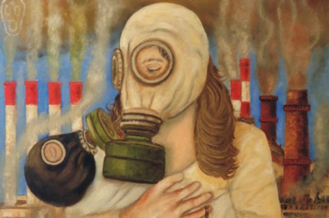 Художник изобразил, чем грозит смог городу на картине «Челябинская Мадонна»