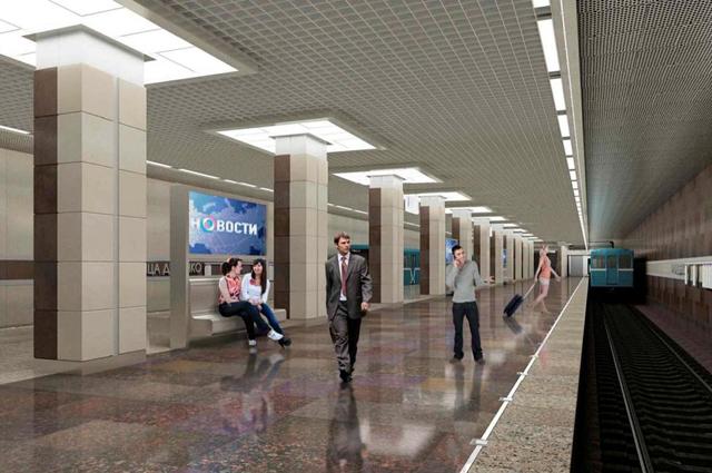Проект центрального зала станции метро «Ховрино» Замоскворецкой линии Московского метрополитена.