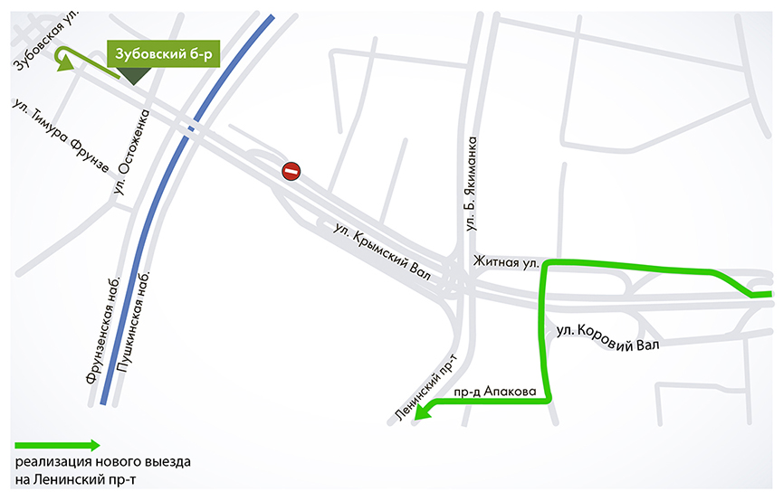 Съезд с Садового кольца на Ленинский проспект