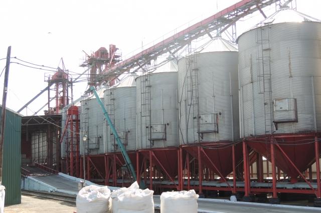 В ёмкостях хранится зерно для продажи.