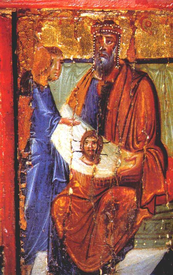 Авгарь получает Нерукотворный Образ Иисуса Христа. Композиция со створки триптиха. Монастырь Святой Екатерины, Синай