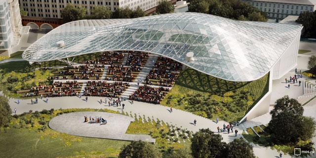 Стеклянная «кора» в парке «Зарядье» способна укрыть от непогоды несколько тысяч меломанов.