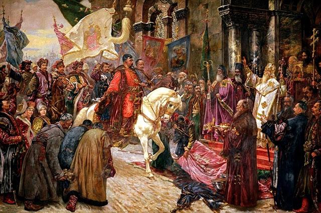 Въезд Богдана Хмельницкого в Киев. Картина Николая Ивасюка, конец XIX века.