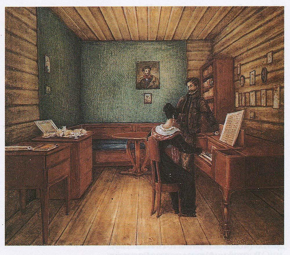 Волконский С. Г. с женой в камере в Петровской тюрьме. Рисунок Н. А. Бестужева, 1830 г.