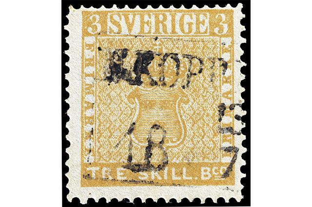 Почтовая марка Жёлтый Трескиллинг