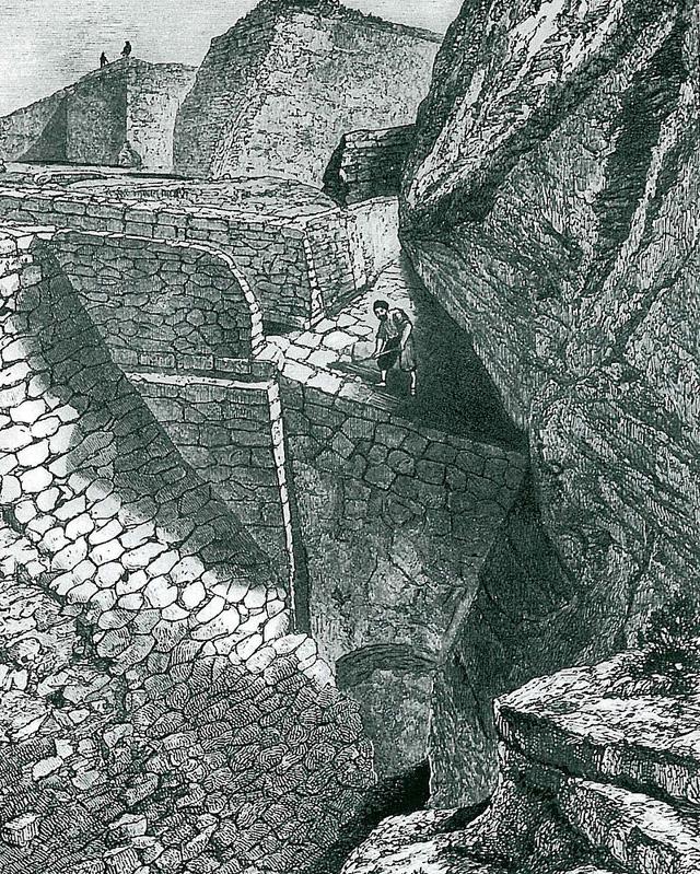 Вид троянских раскопок Шлимана. Гравюра XIX века.