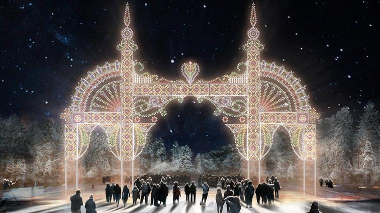 Световое панно у входа в парк имени Ленина (Матросова))